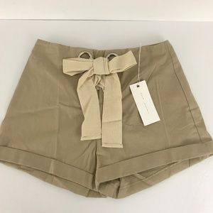 Lush Khaki Tan High Waist Tie Front Shorts NWT